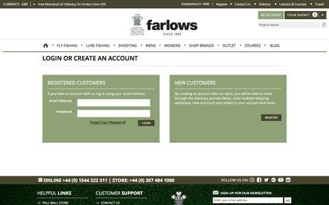 Screenshot of Login Page farlows.co.uk - Customer Login - captured Oct. 13, 2017