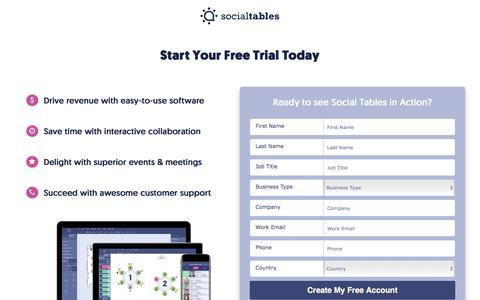 Screenshot of Signup Page socialtables.com - Try Social Tables Event Software Platform Free for 14 Days! - captured April 21, 2017