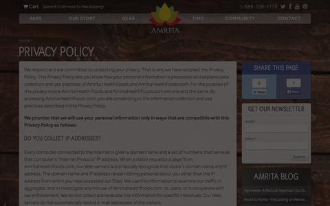 Screenshot of Privacy Page amritahealthfoods.com - Privacy Policy - Amrita Health Foods - captured Sept. 30, 2014