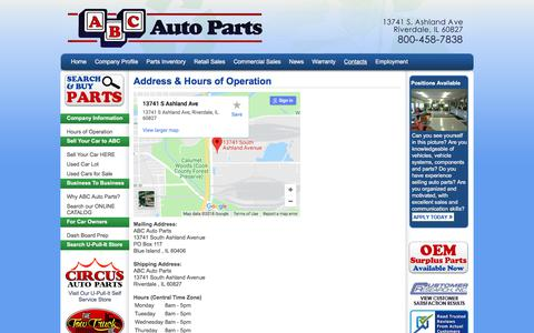 Screenshot of Hours Page abcap.com - ABC Auto Parts - Contact Us - captured July 4, 2018
