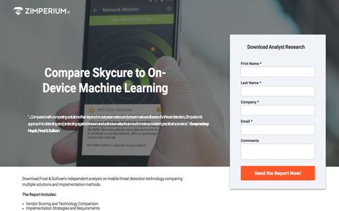 Screenshot of Landing Page zimperium.com - Compare Skycure Mobile Security with Competitors - captured April 21, 2017