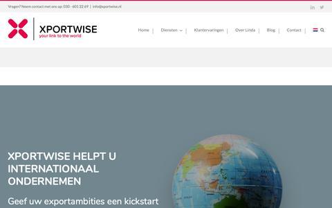 Screenshot of Home Page xportwise.nl - Hulp bij internationaal ondernemen - captured Nov. 18, 2018