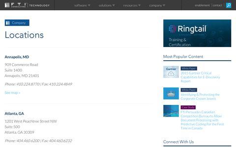 Screenshot of Locations Page ftitechnology.com - Locations - captured Feb. 21, 2016