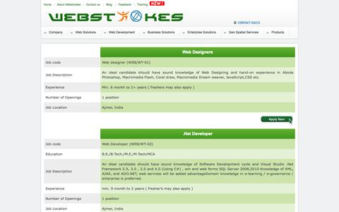 Screenshot of Jobs Page webstrokes.in - Webstrokes - captured Oct. 7, 2014