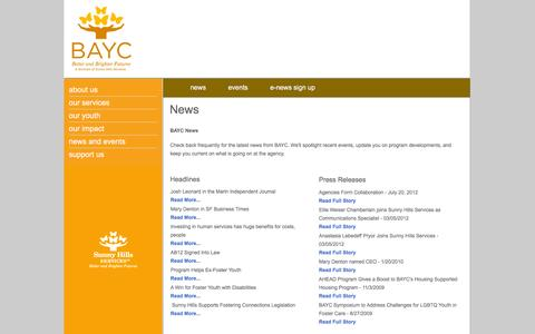 Screenshot of Press Page baycyouth.org - BAYC Youth   News   Better and Bigger Futures - captured Feb. 7, 2016
