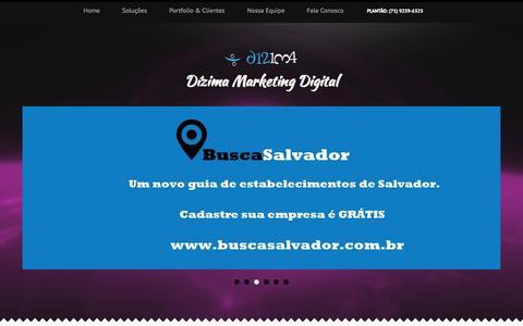 Screenshot of Home Page dizima.com.br - Dízima | Marketing Digital | Site, Loja Virtual, SEO em Salvador em São Paulo - captured Oct. 5, 2014