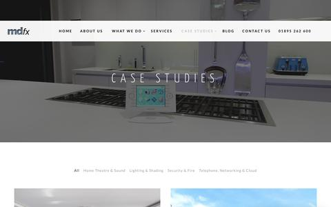 Screenshot of Case Studies Page mdfx.co.uk - Case Studies & Recent Projects - MDfx Smart Home Solutions - captured Sept. 30, 2017
