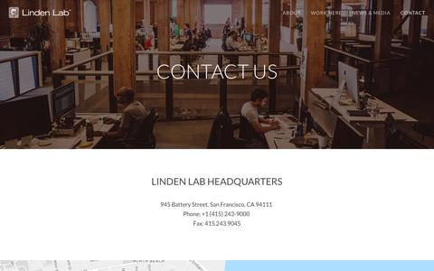 Screenshot of Contact Page lindenlab.com - Contact Us | Linden Lab - captured Dec. 4, 2015