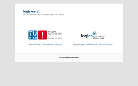 Screenshot of Home Page logic-cs.at - logic-cs.at | Degree Programs in Logic and Computer Science at TU Vienna - captured Sept. 16, 2015