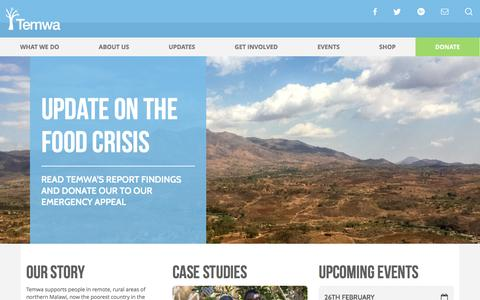 Screenshot of Home Page temwa.org - Temwa – Supporting the people of northern Malawi - captured Feb. 24, 2016
