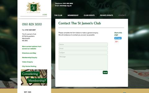 Screenshot of Contact Page stjamesclubmanchester.org - The St James's Club | Contact - captured Dec. 1, 2016