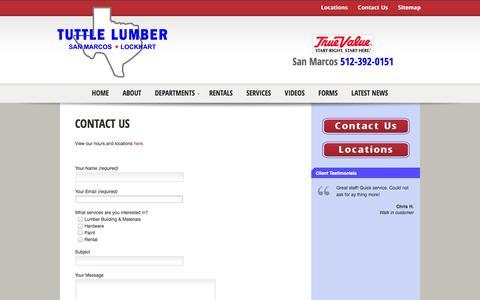 Screenshot of Contact Page tuttlelumber.com - Lumber San Marcos Lockhart Tx Building Supplies Hardware Power Tool Rental Propane Gas  | Tuttle Lumber - captured Sept. 30, 2014
