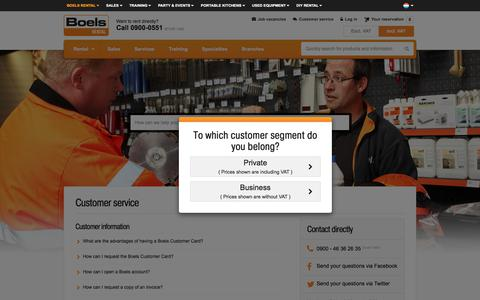 Screenshot of FAQ Page Support Page boels.nl - Customer service - captured July 1, 2017