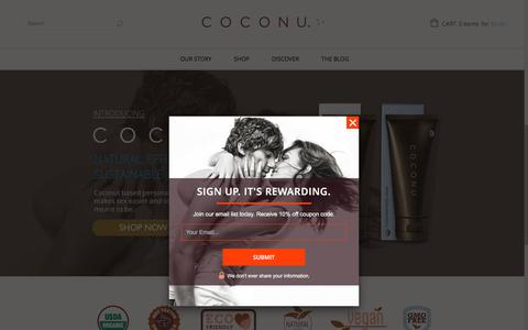Screenshot of Home Page coconu.com - Organic Personal Lubricants & Natural Lubricants by Coconu - Coconut Oil & Water Based - captured Dec. 10, 2015