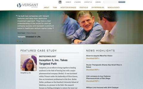 Screenshot of Home Page versantventures.com - Healthcare Venture Capital Investing in Early Stage Life Sciences Companies | Home | Versant Ventures - captured Oct. 1, 2014