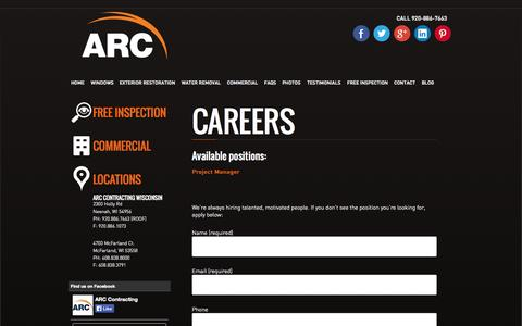 Screenshot of Jobs Page arccontracting.com - Careers | ARC Contracting - captured Nov. 2, 2014