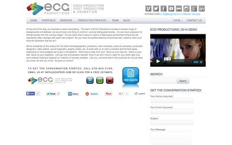 Screenshot of Jobs Page ecgprod.com - Film and Video Production Careers Atlanta, Georgia  | ECG Productions - captured Oct. 1, 2014