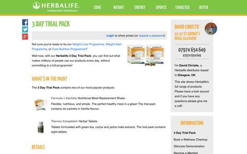 Screenshot of Trial Page controlbodyweight.com - 3 Day Trial Pack - David Christie's Herbalife Shop - captured Oct. 2, 2014