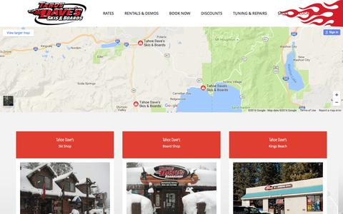 Screenshot of Locations Page tahoedaves.com - Locations – Tahoe Dave's - captured Nov. 28, 2016