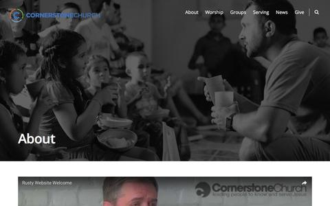 Screenshot of About Page cornerstonebuzz.org - About – Cornerstone Church - captured Nov. 12, 2016