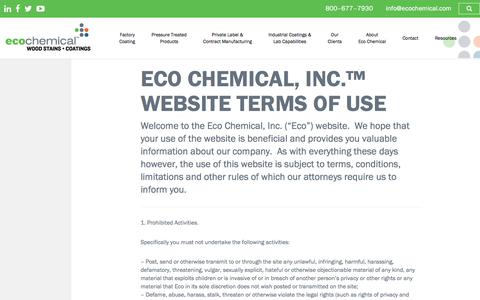 Screenshot of Terms Page ecochemical.com - Eco Chemical, Inc.™ Website Terms of Use - Eco Chemical™ Wood Stains and Coatings - captured July 16, 2018
