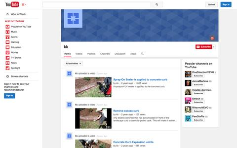 Screenshot of YouTube Page youtube.com - kk  - YouTube - captured Oct. 25, 2014