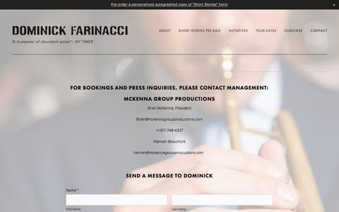 Screenshot of Contact Page dominickfarinacci.com - Contact — Dominick Farinacci - captured May 20, 2016
