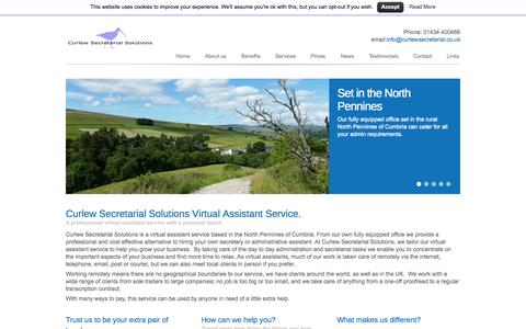 Screenshot of Home Page curlewsecretarial.co.uk - Curlew Secretarial Solutions- Virtual Assistant Service - captured Oct. 3, 2014