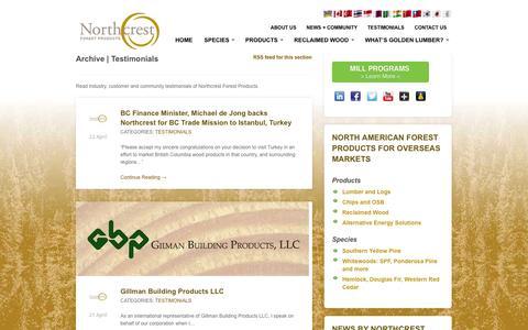 Screenshot of Testimonials Page northcrestforestproducts.com - Testimonials | Northcrest Forest Products - captured Oct. 26, 2014