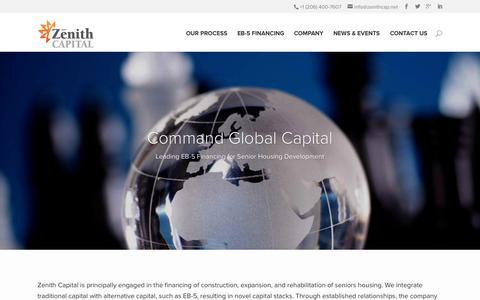Screenshot of Home Page zenithcap.net - Leading EB-5 Financing for Senior Housing Development - captured Jan. 26, 2015