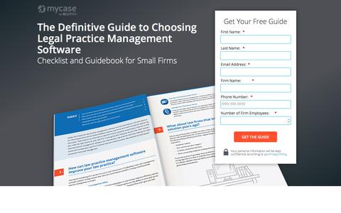 Screenshot of Landing Page mycase.com - The Definitive Guide to Choosing Legal Practice Management Software - captured July 24, 2018