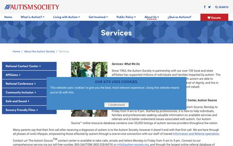 Screenshot of Services Page autism-society.org - Services - Autism Society - captured May 17, 2019