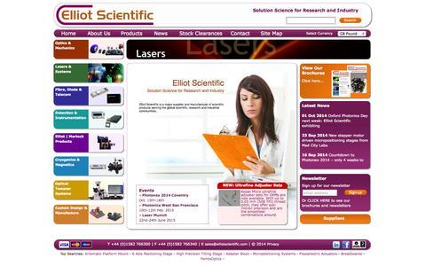 Screenshot of Home Page elliotscientific.com - Optomechanics & laser tweezers - Elliot Scientific solutions for research and industry - captured Oct. 2, 2014