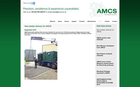 Screenshot of Press Page amcs.co.uk - AMCS - News - AMCS partner with H2SCAN - captured Oct. 4, 2014