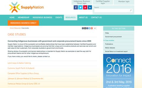 Screenshot of Case Studies Page supplynation.org.au - Supply Nation › - captured Feb. 26, 2016