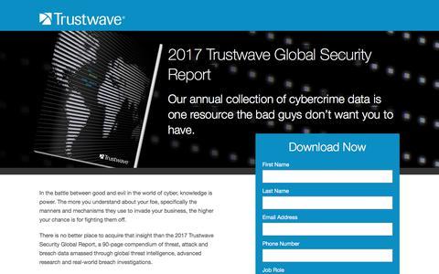 Screenshot of Landing Page trustwave.com - 2017 Trustwave Global Security Report - captured July 1, 2017