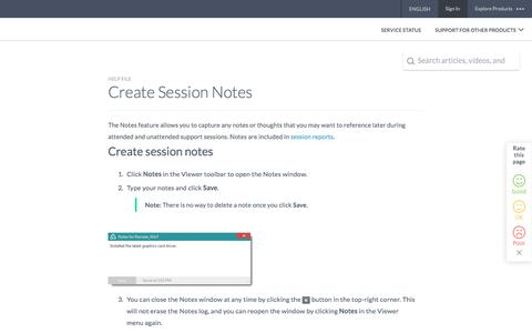 Screenshot of Support Page logmeininc.com - Create Session Notes - captured Oct. 14, 2017