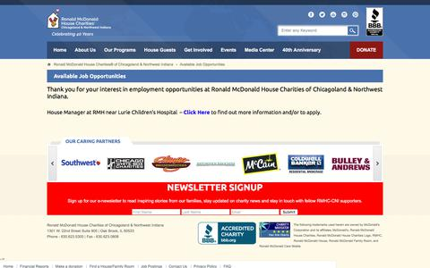Screenshot of Jobs Page rmhccni.org - Available Job Opportunities at Ronald McDonald House Charities of Chicagoland & Northwest Indiana | Ronald McDonald House Charities® of Chicagoland & Northwest Indiana - captured Oct. 23, 2017