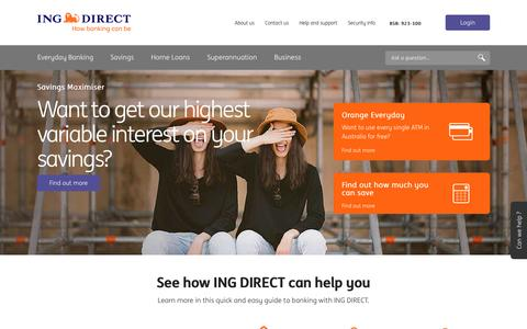 Screenshot of Home Page ingdirect.com.au - ING DIRECT - Personal and Business Banking. How banking can be. - captured Aug. 20, 2016