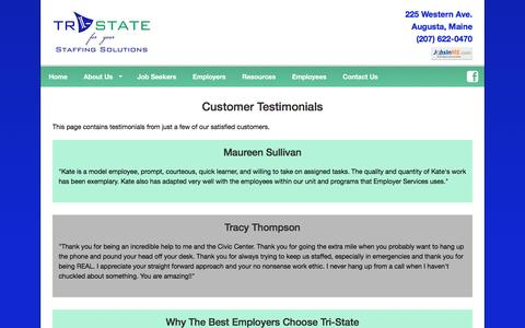 Screenshot of Testimonials Page tristatestaffing.com - Maine Staffing Agency, Temp Employment, Temp to Hire, Job Placement, Job Search, Tri-State Staffing Solutions located in Augusta Maine. - captured Dec. 20, 2016
