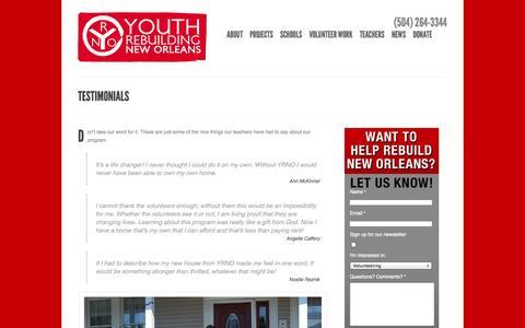 Screenshot of Testimonials Page yrno.com - Testimonials - Youth Rebuilding New Orleans - captured Oct. 9, 2014