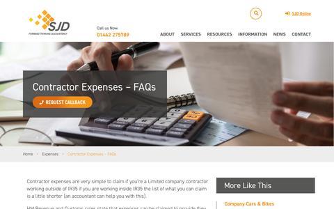 Screenshot of FAQ Page sjdaccountancy.com - Contractor Expenses - FAQs - SJD Accountancy - captured Jan. 30, 2019