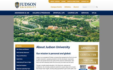 Screenshot of About Page judsonu.edu - About | Judson University Christian College - captured Oct. 6, 2014