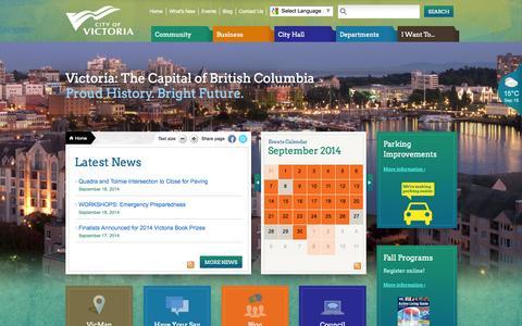 Screenshot of Home Page victoria.ca - Home   Victoria - captured Sept. 22, 2014