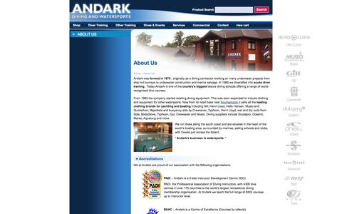 Screenshot of About Page andark.co.uk - About Andark Diving an Watersports - captured Oct. 4, 2014