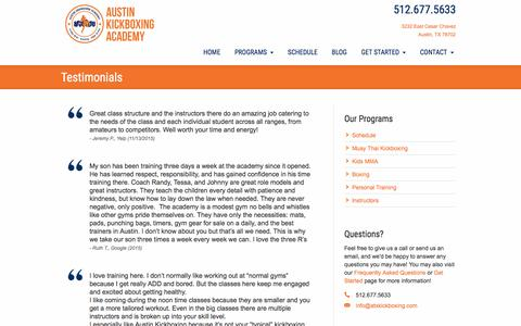 Screenshot of Testimonials Page austinkickboxingacademy.com - Customer Testimonials - captured Nov. 21, 2016