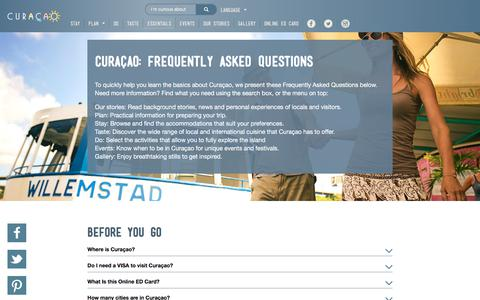 Screenshot of FAQ Page curacao.com - Frequently Asked Questions about Curaçao - captured Sept. 18, 2017