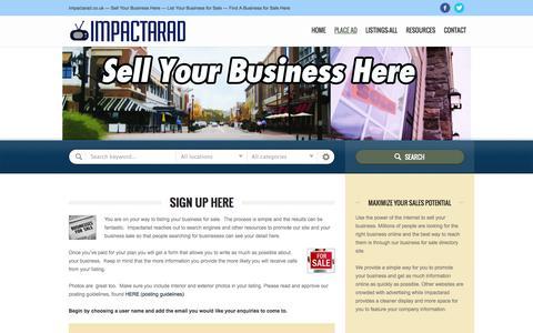Screenshot of Signup Page impactarad.co.uk - Sign Up Here   Impactarad - captured Sept. 30, 2014