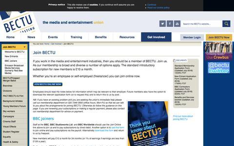 Screenshot of Signup Page bectu.org.uk - Join BECTU - BECTU - captured Nov. 21, 2016