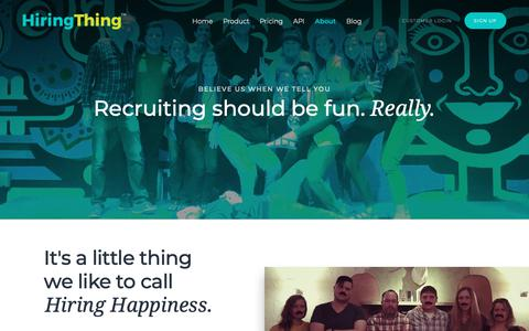 Screenshot of About Page hiringthing.com - HiringThing Recruiting Software | About - captured Nov. 22, 2018